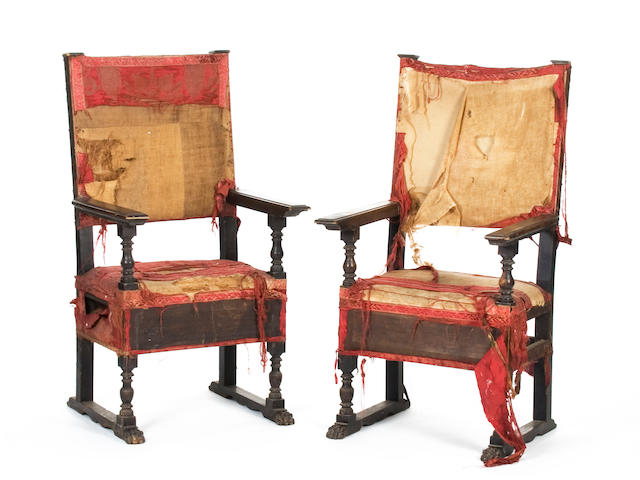 A pair of 19th Century Spanish high back side chairs