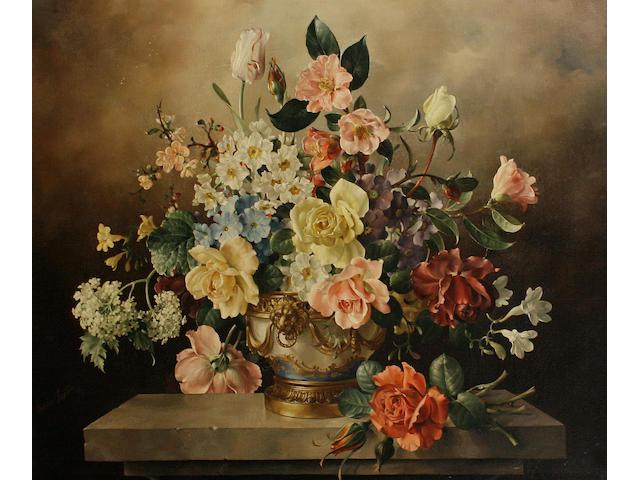 Harold Clayton (British, 1896-1979) Still life study of mixed flowers
