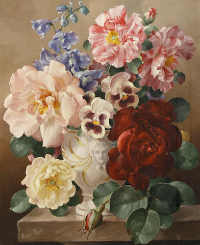 Harold Clayton (British, 1896-1979) Still life with roses and pansies; Still life of roses and morning glory each 30 x 25cm (11 3/4 x 9 3/4in)(2)