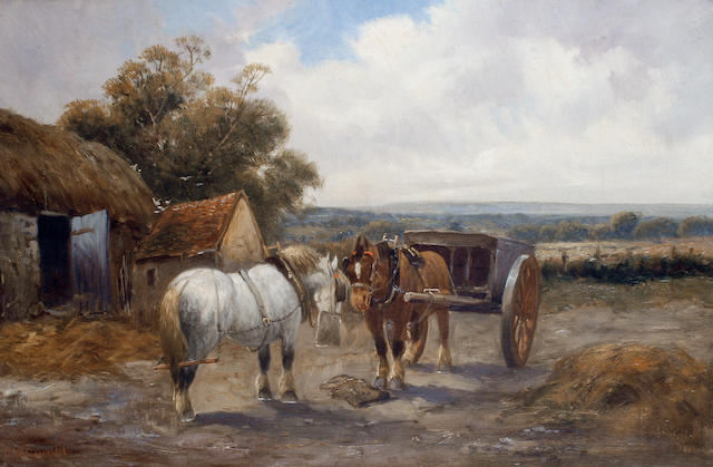 Charles W. Oswald (British, 19th Century) Horses in a farmyard