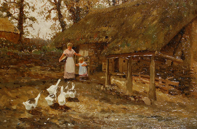 Thomas James Lloyd, RWS (British, 1849-1910) Feeding the geese