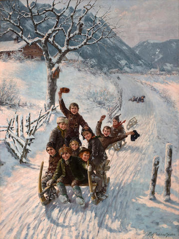 Theodore Kleehaas (German, 1854-1929) Children sledding
