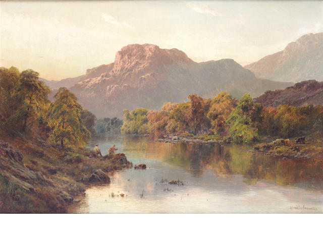 Alfred de Bréanski, RBA (British, 1852-1928) Betts-y-Coed - Fisherman and Cattle