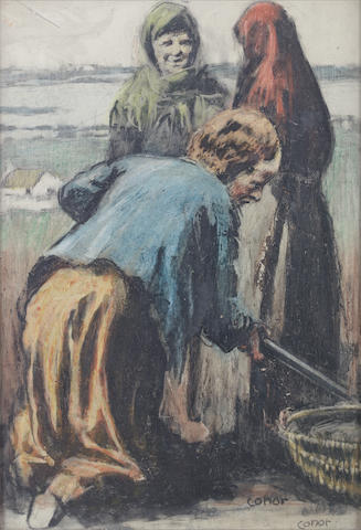 William Conor R.H.A., R.U.A. (Irish, 1881-1968) Potatoe gatherers 38.5 x 26 cm. (15 1/4 x 10 1/4 in.)