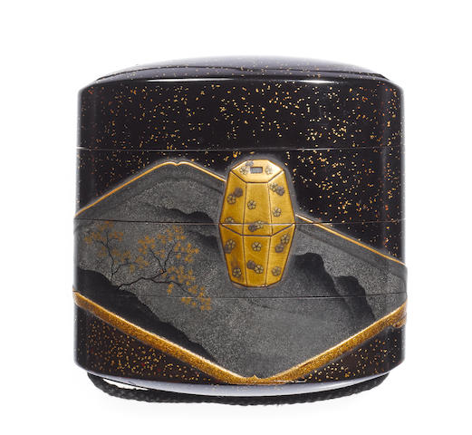 A black lacquer three-case inro By Koma Kyuei, late 18th/early 19th century