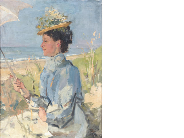 Isaac Israels (Dutch, 1865-1934) At the beach - Portrait of Martha Salomon