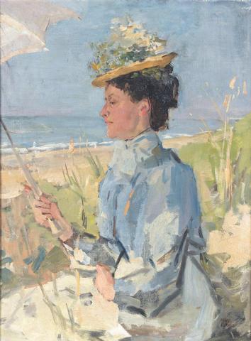 Isaac Israels (Dutch, 1865-1934) At the beach - Portrait of Martha Salomon