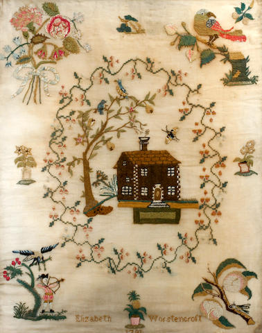 "A George III needlework pictureBy ""Elizabeth Worstencroft 1791"""
