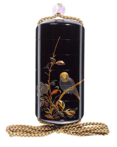 A roiro lacquer five-case inro By Shibata Zeshin (1807-1891), Meiji Period