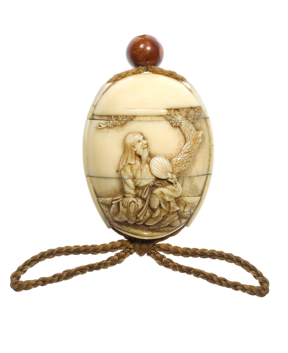 A small ivory two-case inro By Rantei, 19th century