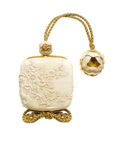 An ivory three-case inro By Kaigyokusai Masatsugu (1813-1892), Osaka, late 19th century
