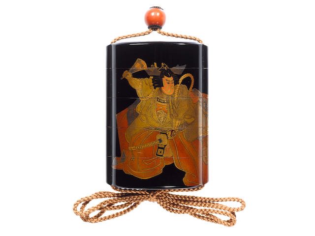 An extremely rare roiro lacquer four-case inro By Shirayama Shosai (1853-1923), early 20th century