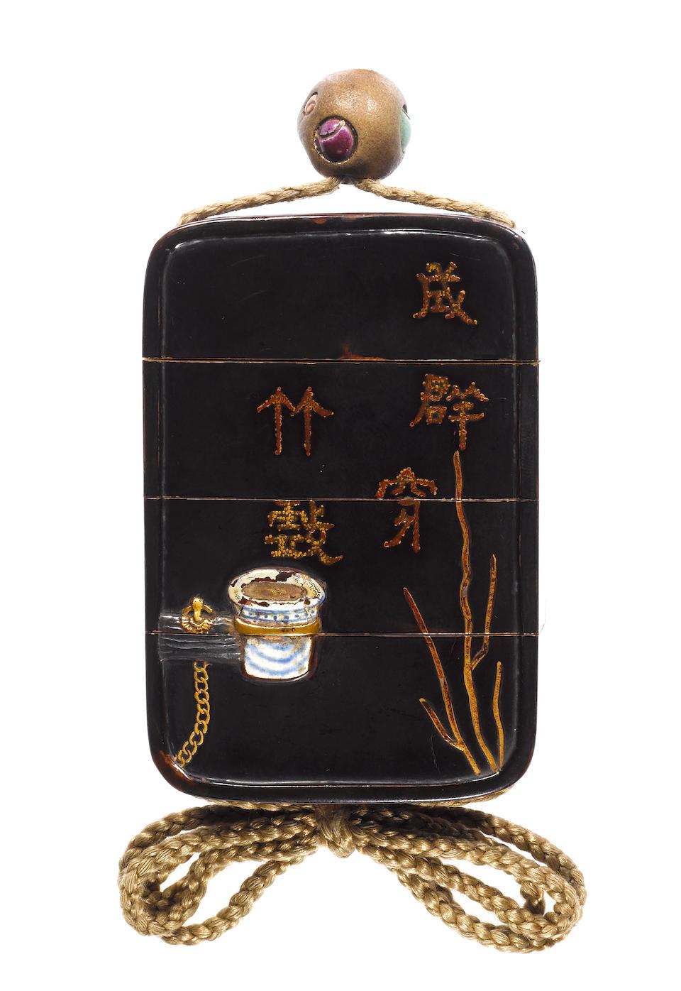 A roiro lacquer three-case inro By Mochizuki Hanzan (1743-1790), 18th century