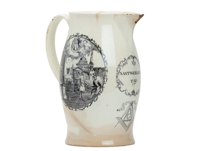 A creamware 'Mason's Arms' jug of Nantwich significance, dated 1793