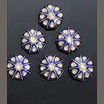 A set of six Indian diamond-set and enamelled gold Buttons (6)