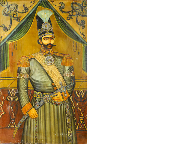 A large oil painting of Mohammad Shah