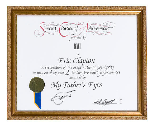 A Special Citation of Achievement certificate presented by the BMI to Eric Clapton,
