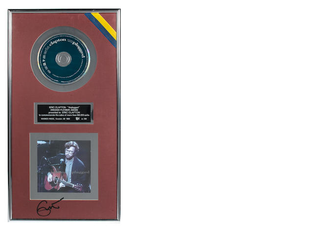 A Swedish presentation sales award for the Reprise Records LP Unplugged,  ifpi certified – Presented to ERIC CLAPTON,