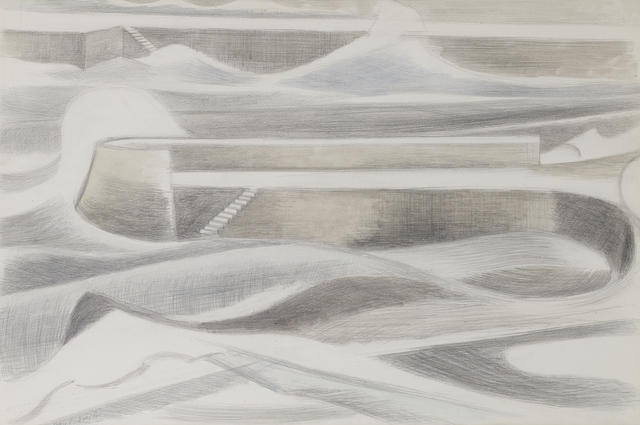 Paul Nash (British, 1889-1946) Sea Wall 37 x 54.5 cm. (14 1/2 x 21 1/2 in.)