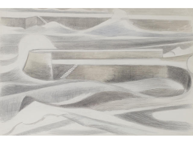 Paul Nash (British, 1889-1946) Sea Wall 37 x 54.5 cm. (14 1/2 x 21 1/2 in.)
