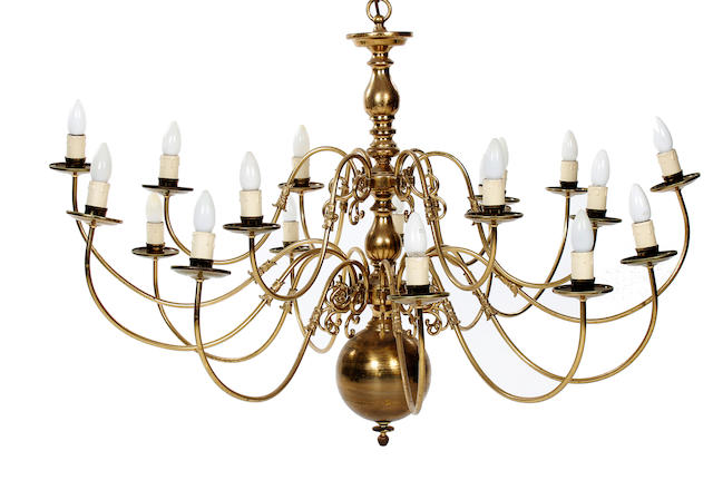A large Dutch-style brass eighteen-branch chandelier20th century, in the mid 18th Century taste