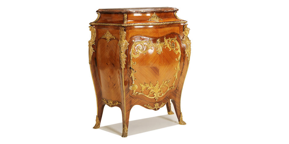 An early 20th century gilt bronze mounted kingwood and bois satine meuble hauteur d'appui