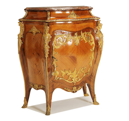 A French late 19th/early 20th century gilt bronze mounted rosewood and bois satiné meuble à hauteur d'appui