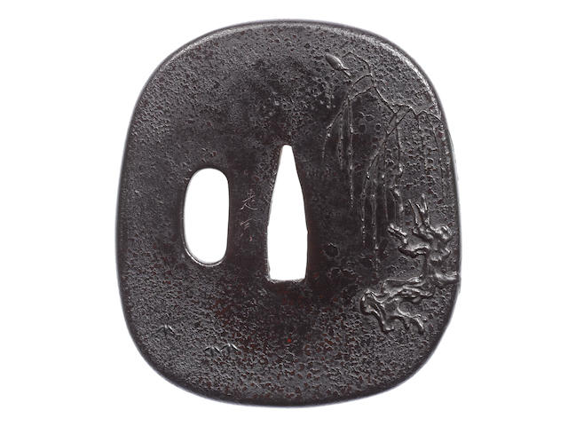 A rare and finely lacquered-wood tsuba By Shibata Zeshin (1807-1891), Meiji Period