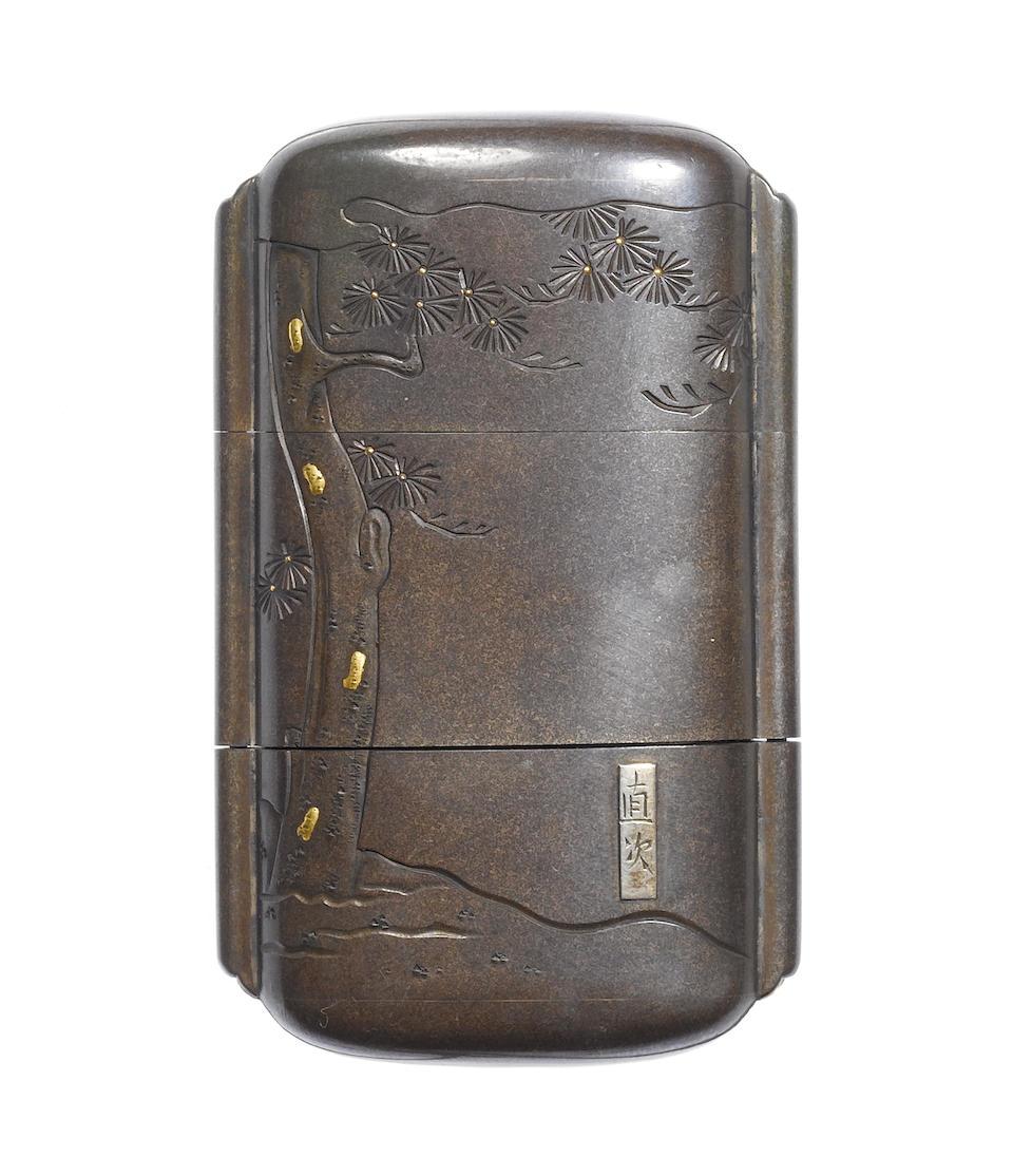 A shibuichi metal-inlaid two-case inro By Naotsugu, 19th century