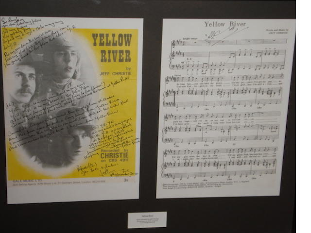 Jeff Christie: A set of handwritten lyrics for the Christie single 'Yellow River'