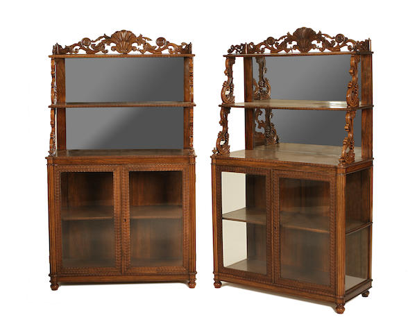 A pair of early Victorian Anglo-Indian rosewood chiffoniers