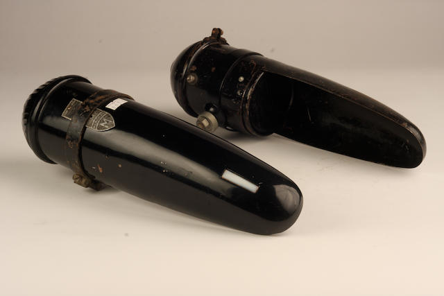 Two Marchal small headlamps with war-time shrouds