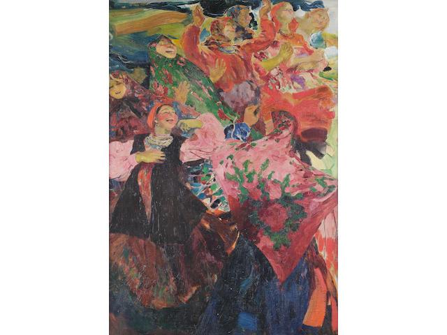 Philip Andreevich Maliavin (Russian, 1869-1940) The village dance, 1920s