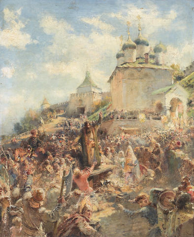 Konstantin Egorovich Makovsky (Russian, 1839-1915) 'The appeal of Minin to the people of Nizhni Novgorod'; a study