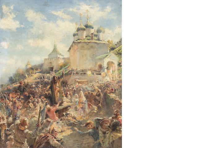 Konstantin Egorovich Makovsky (Russian, 1839-1915) The appeal of Minin to the people of Nizhni Novgorod; a study