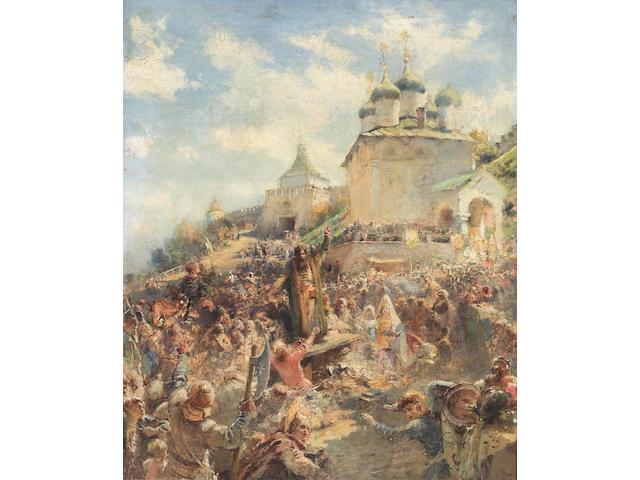 Konstantin Egorovich Makovsky (Russian, 1839-1915) 'The appeal of Minin to the people of Nizhni Novgorod'; a study