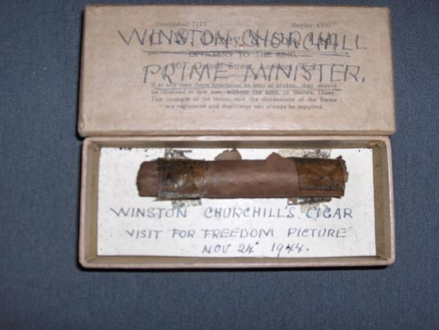 "Winston Churchill. One of his cigars smoked during the sitting for his ""Freedom"" portrait by Frank O Salisbury at The Guildhall on Nov 24th 1944. Approx 4"" of the cigar remains and was retained by the artist and handed down to his grandson"
