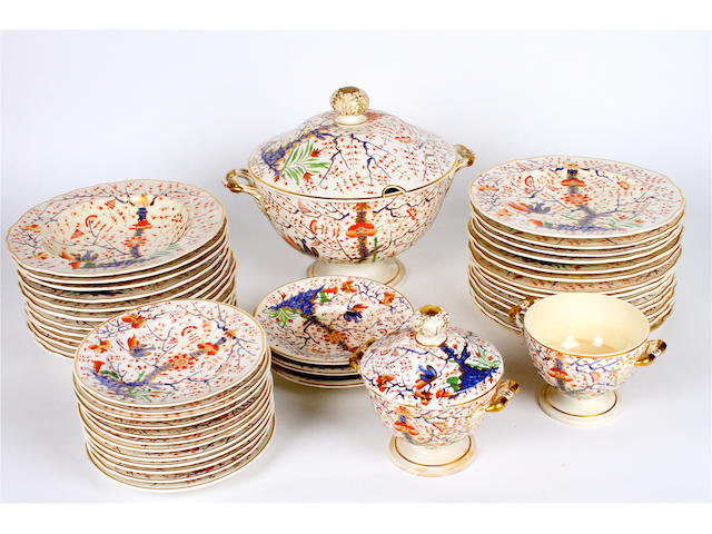 A Derby Imari porcelain part dinner service Circa 1820-30