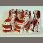 A group of Staffordshire dogs, circa 1860-70