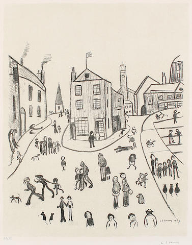 Laurence Stephen Lowry R.A. (British, 1887-1976) The Three Cats, Alstow Lithograph, 1966, on wove, signed and numbered 48/75 in pencil, printed at the Studio of H Grace, London, published by Ganymed Original Editions, London, with full margins, 616 x 480 mm (24 1/4 x 18 3/4 in)