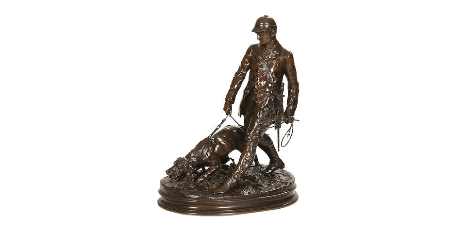 After Pierre-Jules Mêne, French (1810-1879): A late 19th century bronze figure of a hunter Valet de Limier cast by Susse Fres