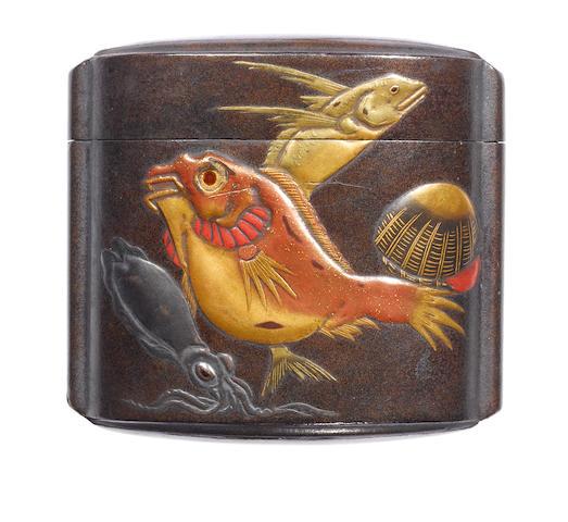 A lacquer single-case inro By Keibun, 19th century