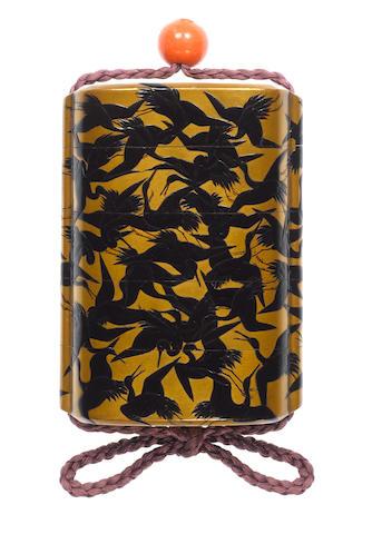 A gold lacquer four-case inro By Koami Nagaharu, 19th century