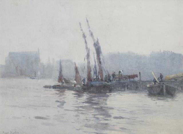 Rose Maynard Barton (Irish, 1865-1929) Boats in a harbour 25.5 x 34 cm. (10 x 13 1/2 in.)