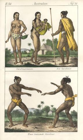 COSTUME Vollständige Völkergallerie in getreuen Abbildungen aller Nationen. vol. 1-3 [Asia; Africa; America and Australia] (of 4)