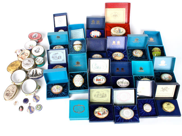 A collection of Halcyon Days enamelled boxes