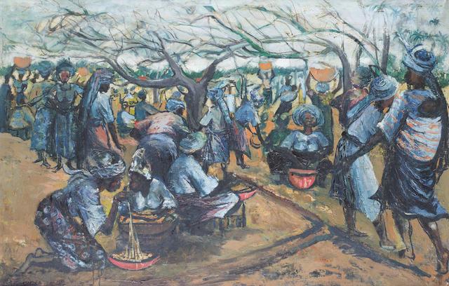 Ben (Benedict Chukwukadibia) Enwonwu, M.B.E (Nigerian, 1917-1994) The marketplace