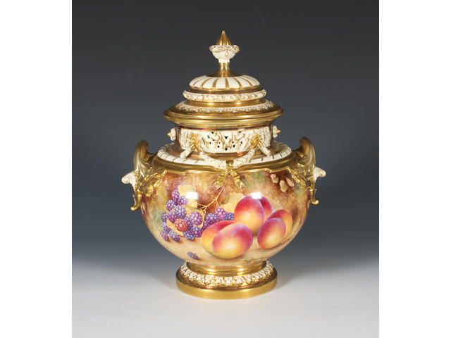 A Royal Worcester fruit painted vase and cover Circa 1970.