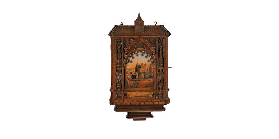 A South German 19th century oak and marquetry wall cabinet