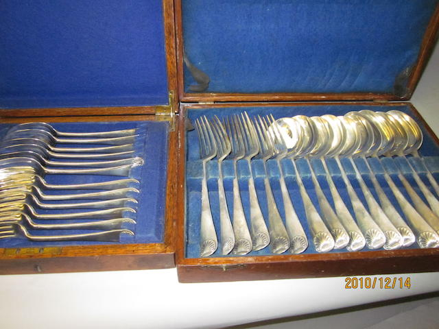 A composite canteen of Old English shell pattern flatware, London 1925, 1934,